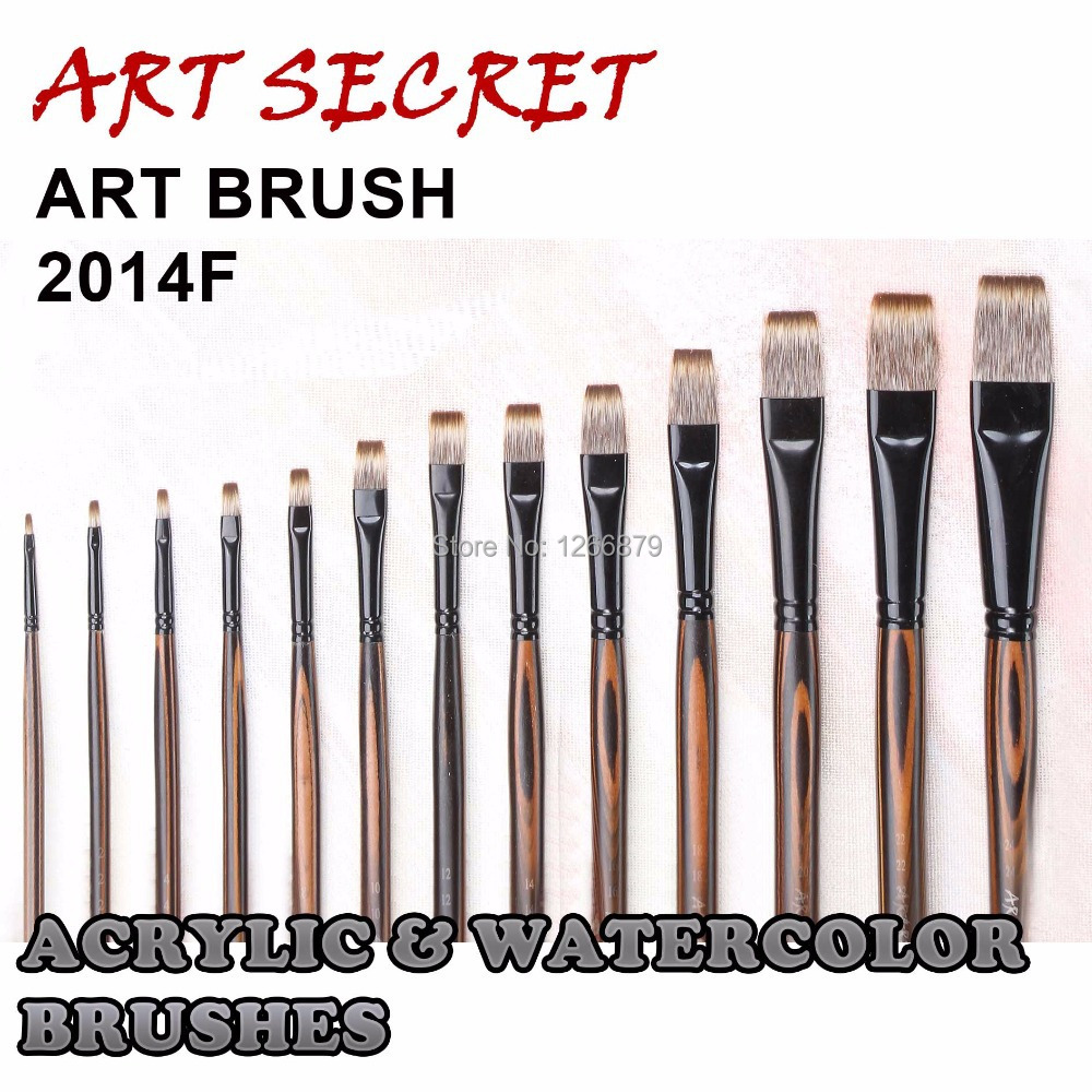 2014F High Quality Wooden Handle Korea Synthetic Hair Paint Brushes Artistic Art Painting Brush For Acrylic And Oil Drawing