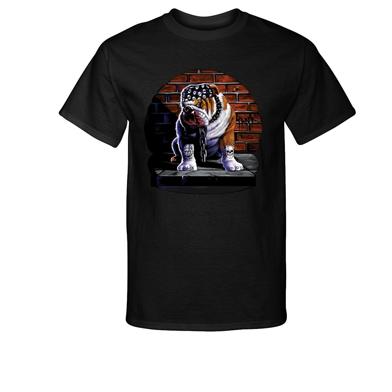 2019 Fashion Cotton Tee Shirt Fashion Angry Dog Mad Bad American Bulldog Tattooed Chains T-shirt