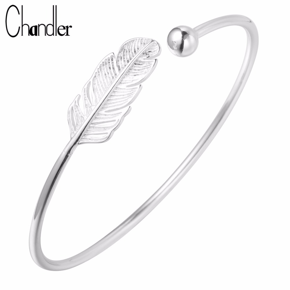 chandler 925 sterling silver feather charm cuff bracelet