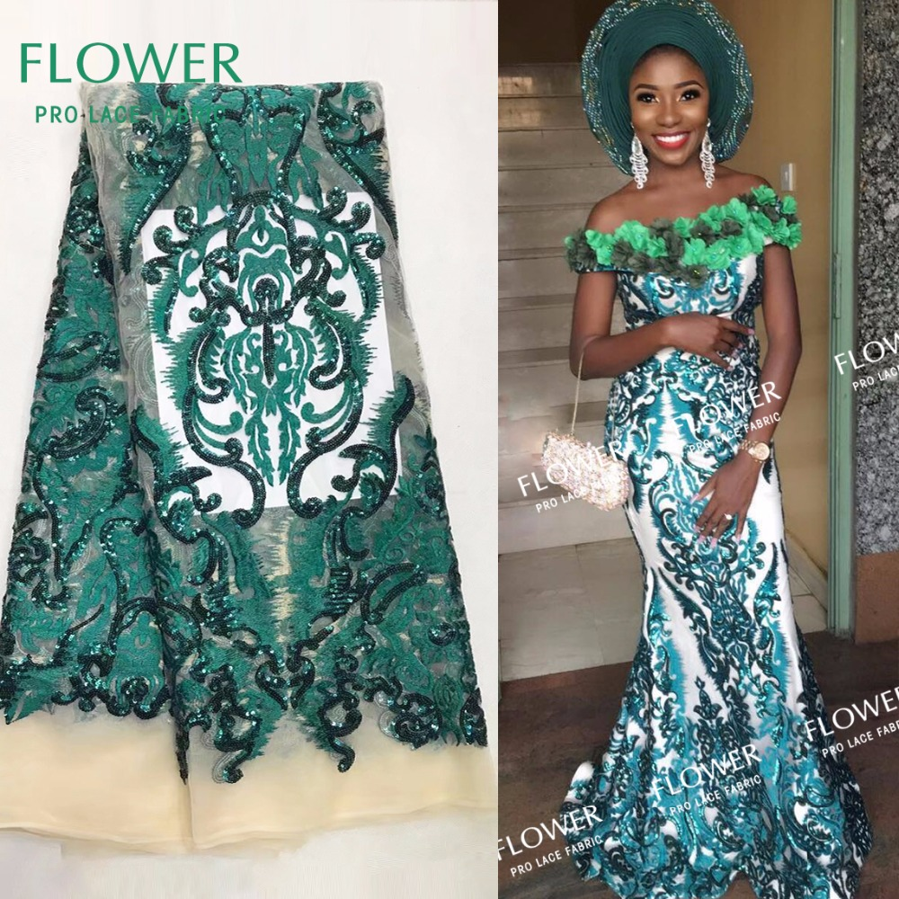 Green Color Sequined Embrodiered Mesh Lace Fabric African India Women  Wedding Party Dresses Laces 2018 High 7df19b9d533a