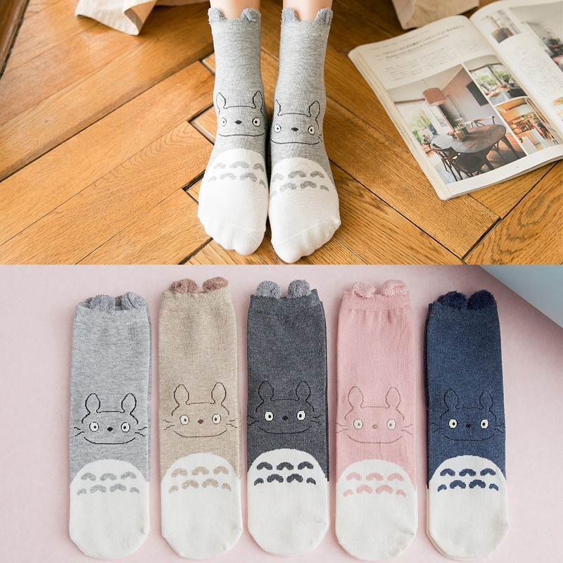 Factory Cartoon Hosiery Harajuku Style Women   Socks   Japanese Ankle Cute Totoro Ear Female Casual Comfoable Funny   Socks   Cotton