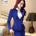2016 Новый Корейский Осень женская мода оборками юбка костюмы карьера ПР пиджак и юбка офис Куртки пальто плюс размер 3XL 2 шт. наборы