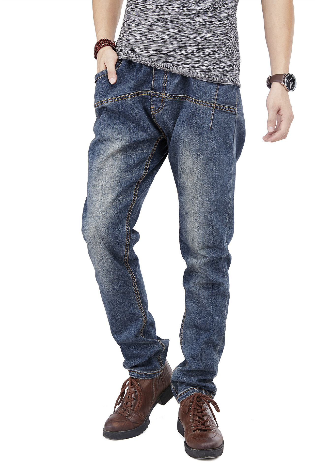 1935 # Spring and summer mens light-colored jeans with slim elastic casual loose straight pants big yards