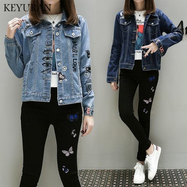 8e7a616df38 2018 New Autumn 5XL Classic female jeans jackets casual double pocket denim jacket  clothing embroidery flowers women jacket coat