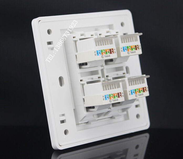 Wall Plate 4 Ports Network Ethernet LAN CAT5 5e RJ45 Socket Panel Faceplate Home Plug Adapter 86mm Standard Wholesale Lots