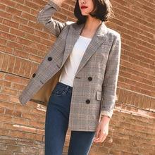 Vintage Bouble Breasted Plaid Women Blazer Pockets Jackets F