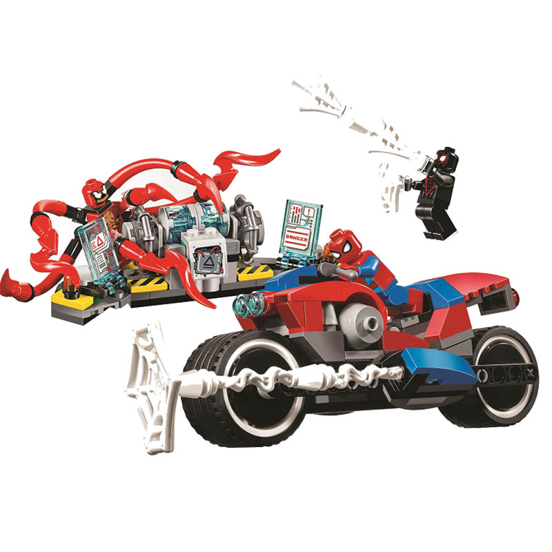 Avengers Marvel 4 Infinity War Super Heroes lEGOED Spider Man Motorcycle Resue Building toys for Children ToysAvengers Marvel 4 Infinity War Super Heroes lEGOED Spider Man Motorcycle Resue Building toys for Children Toys