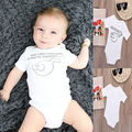 Newborn Baby Cute Kids Clothing Sleepwear Short Sleeves Tops Clothes Outfits Funny Bodaysuit 0-12M