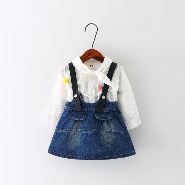 Novo 2016 Outono Inverno Crianças Vestuário de Moda Bebê Define Girls Roupas da Longo-luva Shirt + Denim Vestido de Alça Crianças treino