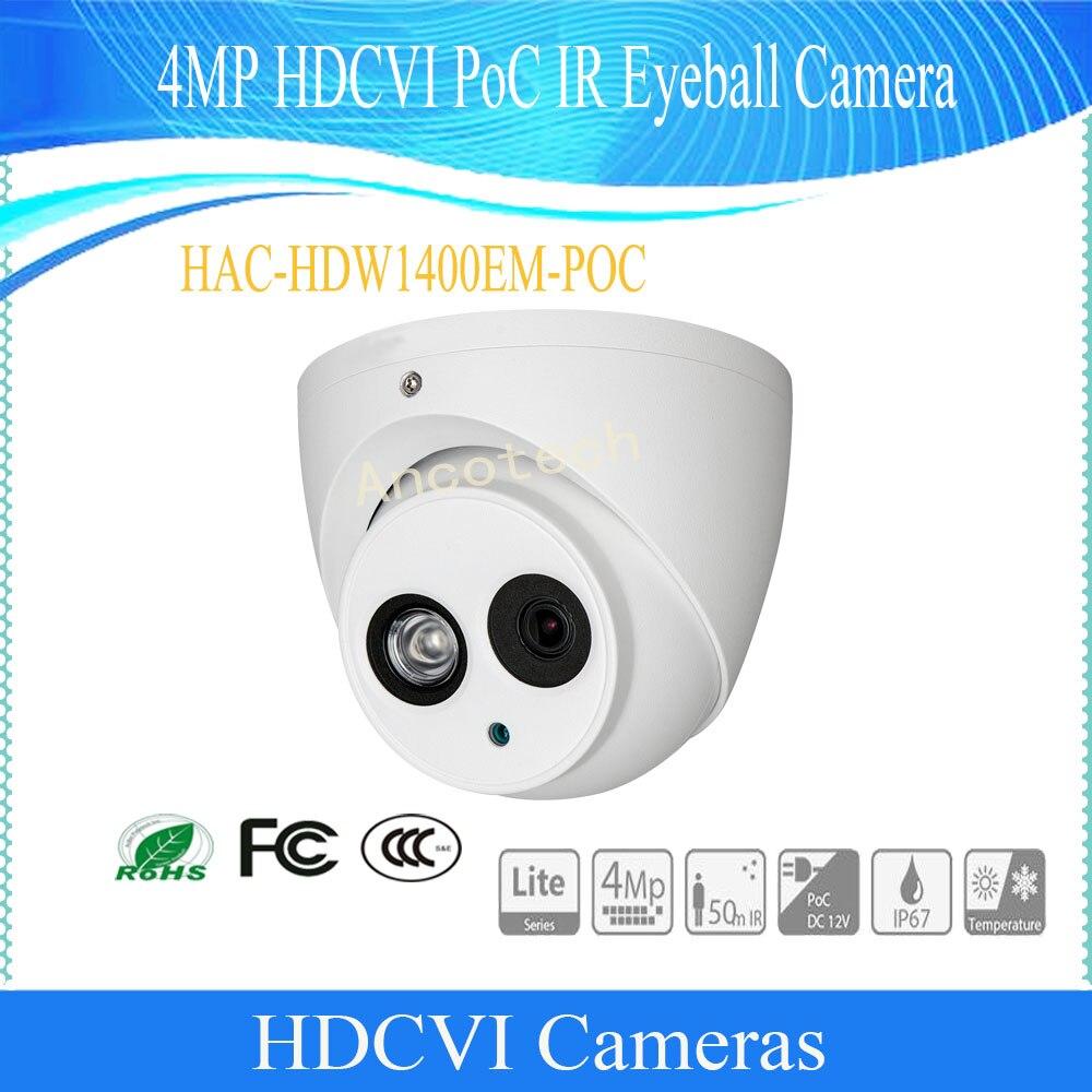Бесплатная доставка оригинальный английский Dahua hac-hdw1400em-poc 4mp HDCVI poc ИК глазного яблока Камера IP67 без логотипа видеонаблюдения Камера