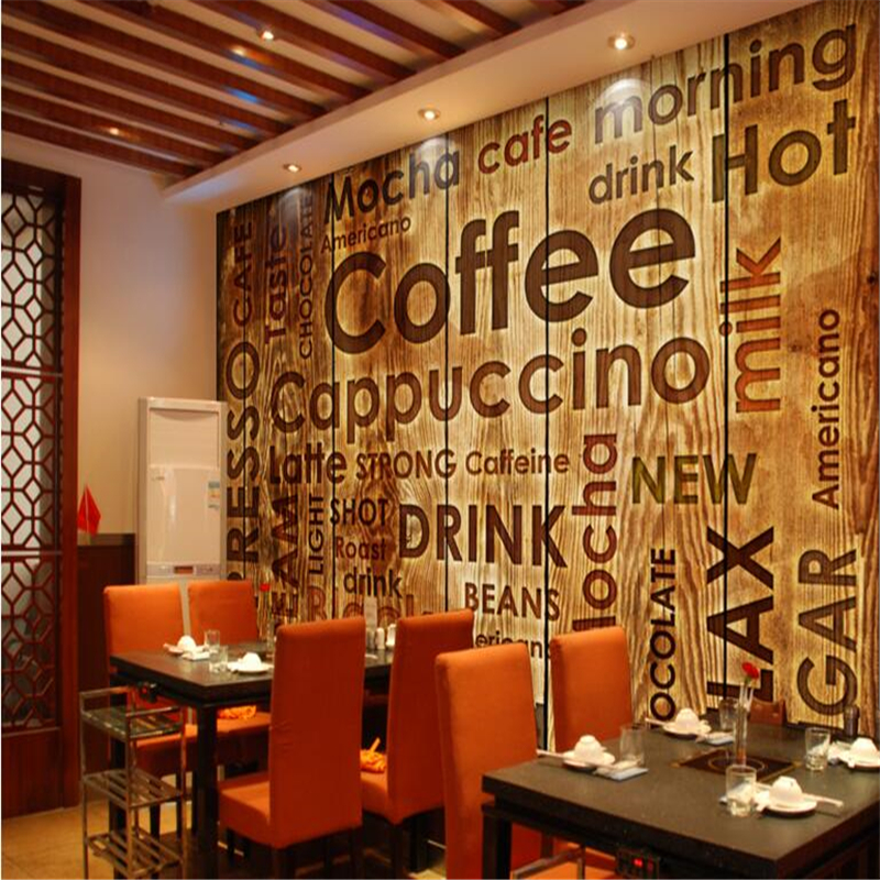 Beibehang custom nonwovens wallpaper coffee shop english for Cafe mural wallpaper