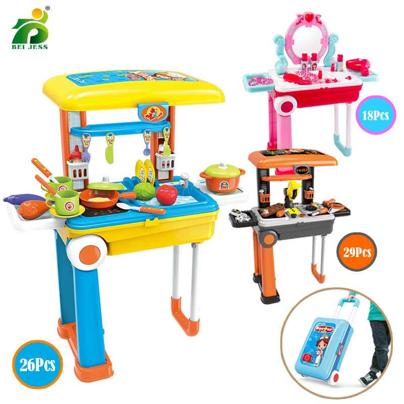 Kitchen Toy 2 In 1 Suitcase Role Play Plastic Fruit Food Pretend Play Simulation Cutting Cooking Set Educational Toys For Kids