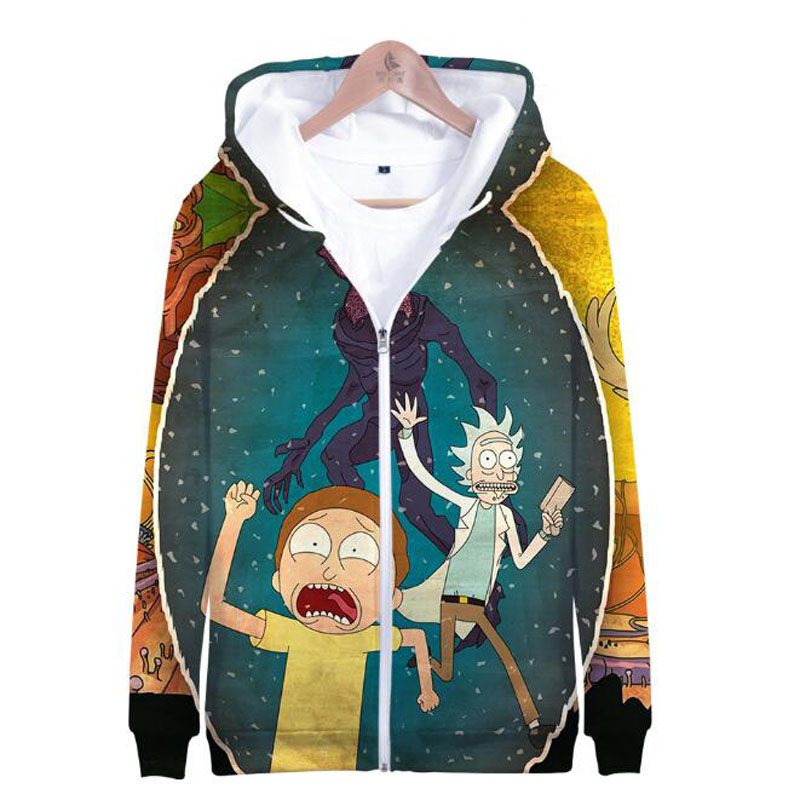 Anime Rick And Morty 3D Print Men Hoodies Sweatshirt Skateboards Male Ricky Morty Long Sleeve Fleece Hooded Zipper Jacket Coats