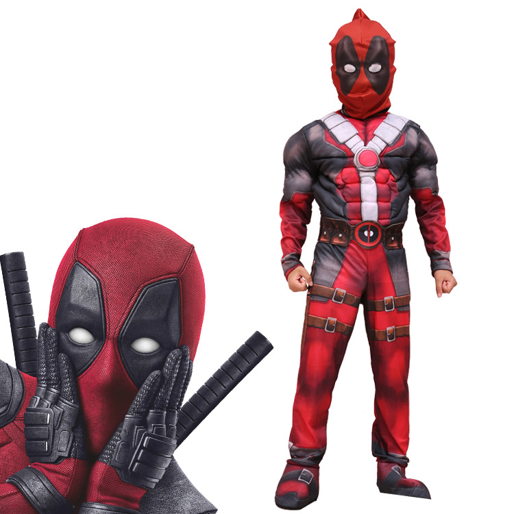 2018 New Children Kids Deadpool Cosplay Costume Deadpool Jumpsuits Tights Cosplay Suit With Mask Halloween Party Cosplay Costume