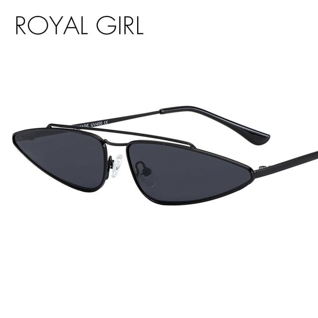 4bec64f95cc ROYAL GIRL New Designer Small Frame Sunglasses Women Vintage Cat Eye Metal  Frame Shades Female Double