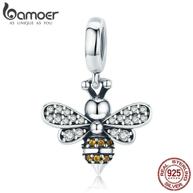 BAMOER 925 Sterling Silver Crystal Bee Luminous CZ Crystal Charm fit Women Charm