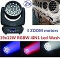 2 xLot Free Доставка Led Wash Zoom RGBW 4in1 19x12 W LED Луч вымойте Moving Головной Свет DMX DJ Дискотека Этап Освещения Эффект Проектор
