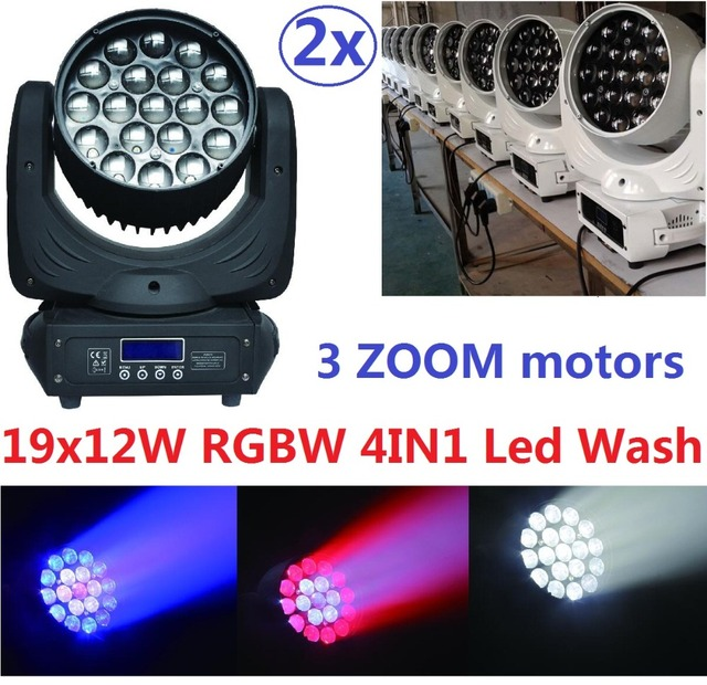 2xLot Free Shipping Led RGBW 4in1 Wash Zoom 19x12W LED Beam Wash Moving Head Light DJ DMX Disco Stage Lighting Effect Projector
