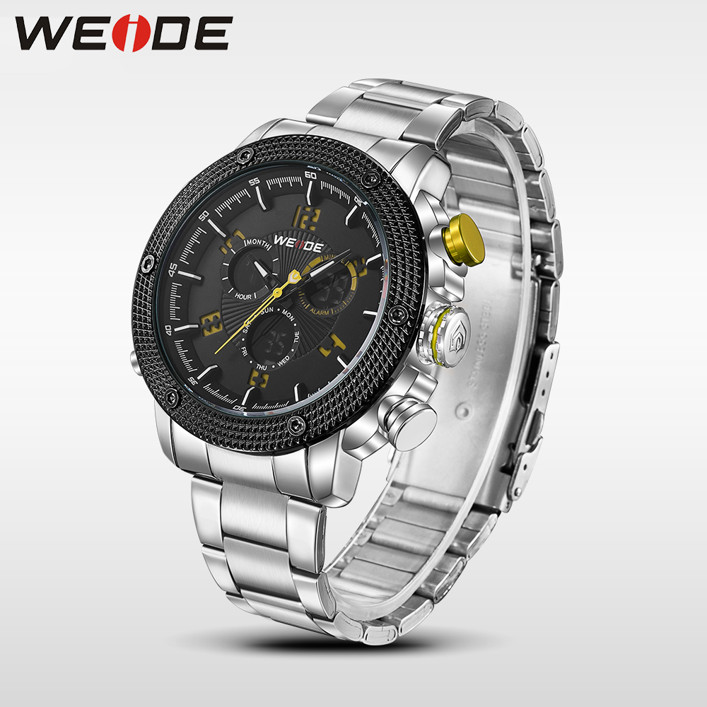 WEIDE Casual luxury genuin Watch Men Quartz Digital  Waterproof Clock Relojes Double display Multiple Time Zone  stainless steel weide casual genuin new watch men quartz digital date alarm waterproof fashion clock relogio masculino relojes double display