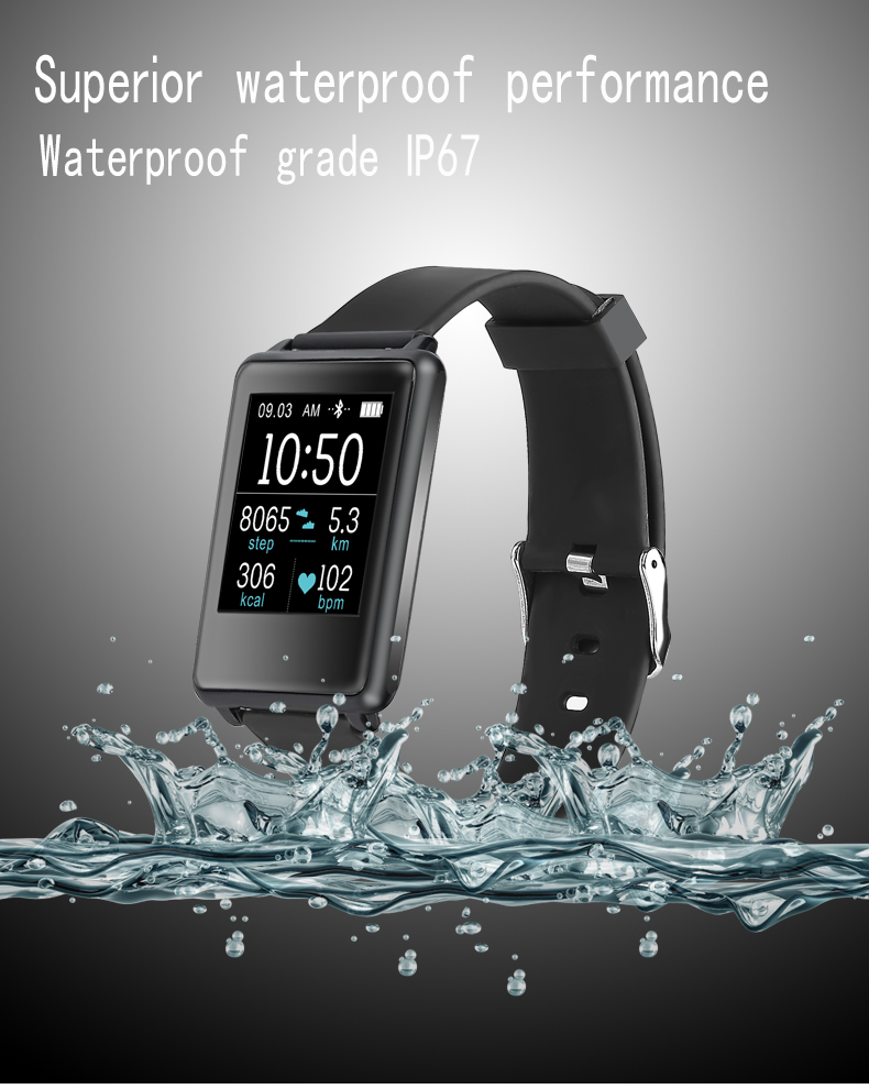 New smartwatch TK002 Heart rate monitor wristband Watch Alarm Clock Call SMS reminder beracelet For IOS