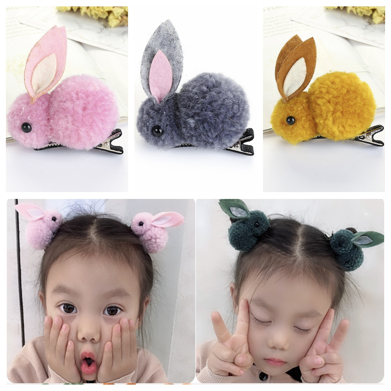 2Pcs/Set Korean Hair Clip Animals Rabbit Hairpins For Girls Hair Accessories 3D Plush Rabbit Ears Cute Kids Baby Hair Clips