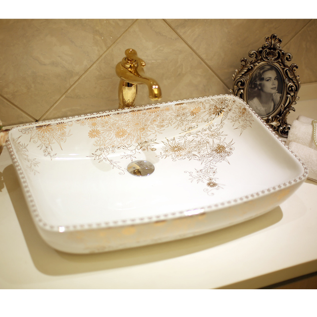 Increase Rectangular Lavabo Counter Top Wash Basin Cloakroom Hand Painted  Vessel Sink Bathroom Sinks Porcelain Vessel