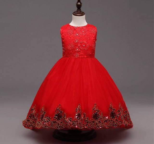 High Quality Brand Girl Lace Princess Dress with Diamond Bow Kids Girl Wedding Dress Infants Bridesmaid Clothes Summer Vestidos
