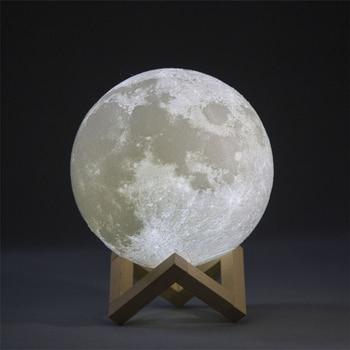 PLA/PVC 3D Printed Moon Lamp LED Baby 20cm USB Charging Wooden Base Touch Sensor Control 2-colors moon lamp lighting