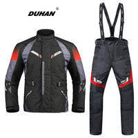 DUHAN Motorcycle Jacket Protective Gear Autumn Winter Moto Jacket Waterproof Pants Suit Removable Warm Lining Touring Clothing