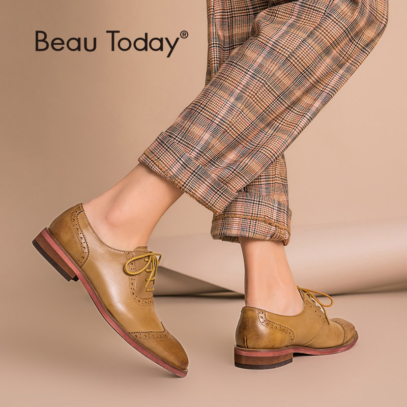 BeauToday Brogue Shoes Women Genuine Leather Round Toe Good Quality Sheepskin Lady Flats Wingtip Shoes Handmade 21409