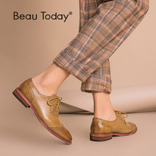 BeauToday Brogue Shoes Women Genuine Leather Round Toe Good Quality Sheepskin Lady Flats Wingtip Shoes Handmade 21409 beautoday monk shoes women buckle straps genuine leather calfkin round toe lady flats handmade brogue style shoes 21408