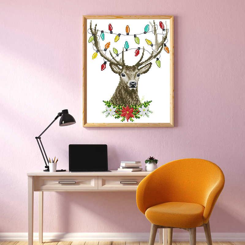 Joy Sunday Рождественское украшение оленьи рога штампованные наборы для вышивки крестом ткань аида Crossstitch кружево 14ct Холст Вышивка Комплект нить DMC