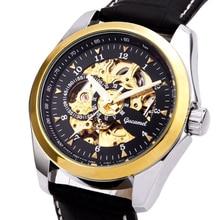 Automatic Mechanical Skeleton Wristwatch Golden Core Watch Men Top Brand Luxury Montre Homme Clock Genuine Leather Wrist Watches