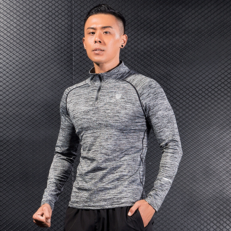 Men gym Fitness workout Hoodies Sweatshirt Quick dry Super-elastic Skinny Sportswear Man ...