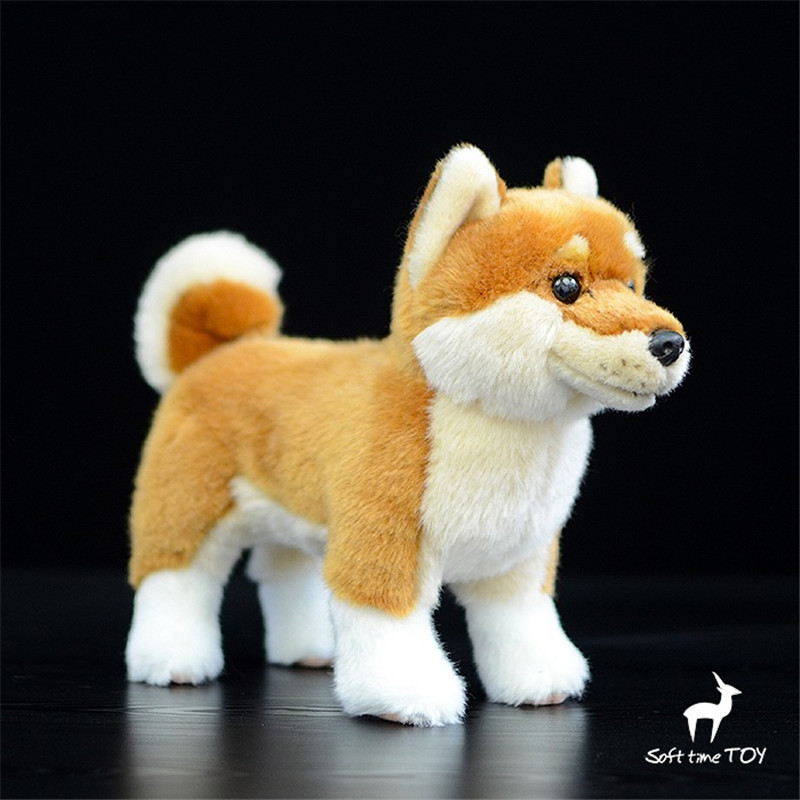 Dog doll dog plush toy artificial animal High quality Japanese Shiba doll birthday gift simulation creative akita dog shiba inu plush toys imitation dog doll cartoon birthday gift 40 60cm