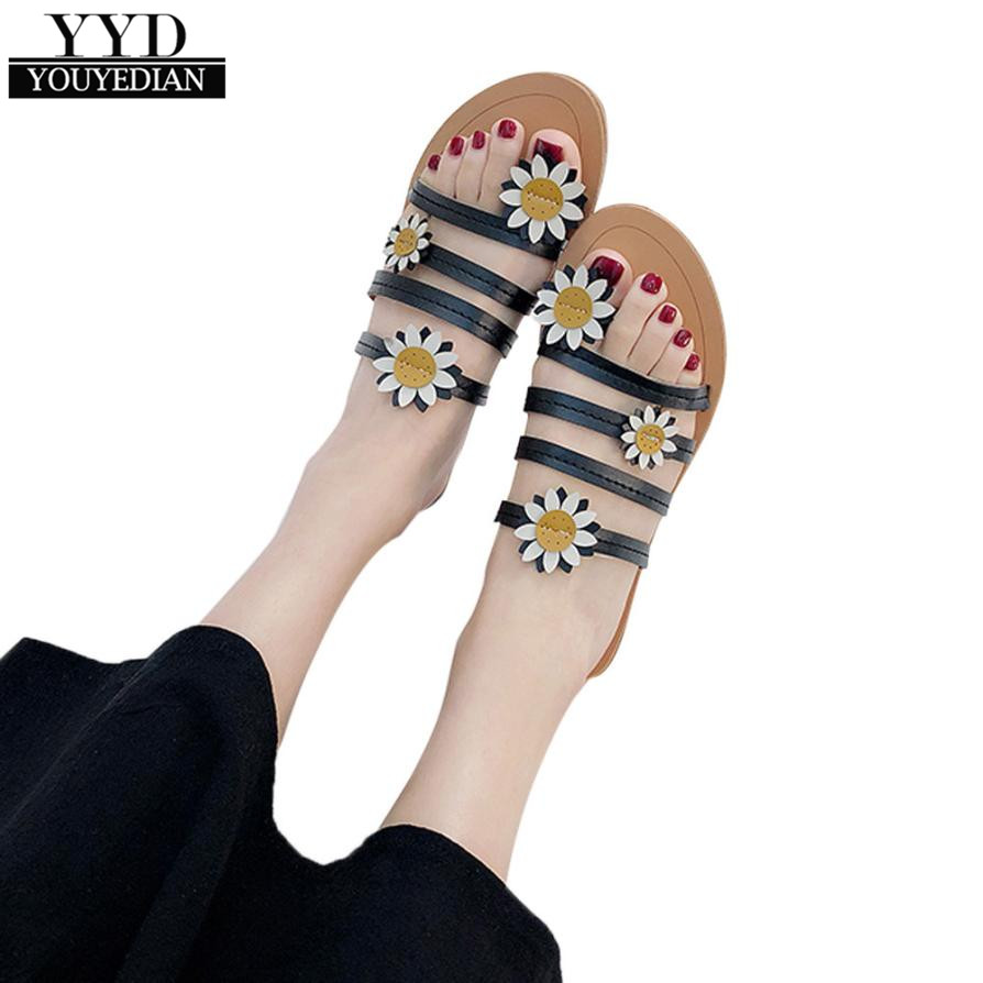 Youyedian Sandals Flip Flops Women Leather Thin Shoes -9016
