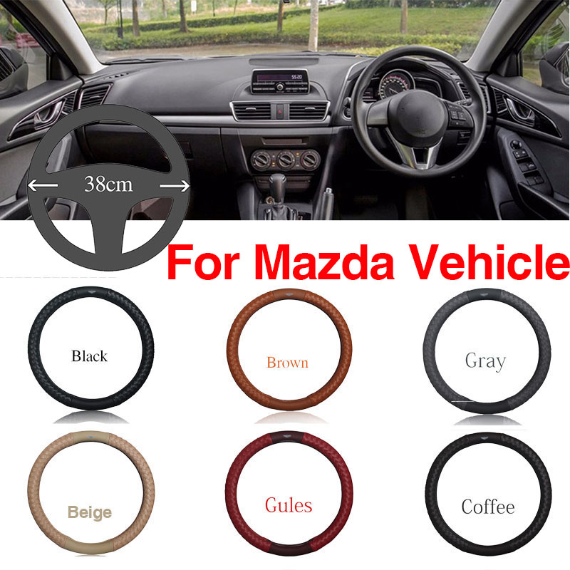 Ipoboo Top PU Leather Diamond weave Plaid Anti-Slip Steering Wheel 6 Colour Choice Cover For Mazda Series Vehicle