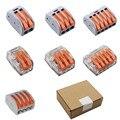 100 Stks/doos Wago Type Draad Connector 222 Serie 2 3 4 5 Pin Kooi Lente Universele Snelle Bedrading Geleiders Klemmenblok Voor Lijn