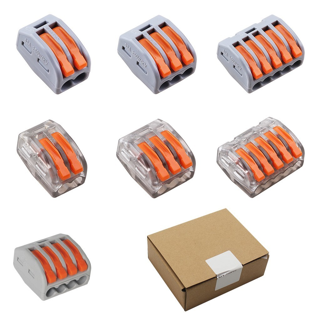 100PCS/Box Wago Type Wire Connector 222 Series 2 3 4 5 Pin Cage Spring Universal Fast  Wiring Conductors Terminal Block For Line 10pcs lot 5set t type red soft fast electric wire connecting terminal without breaking line connector non destructive connector
