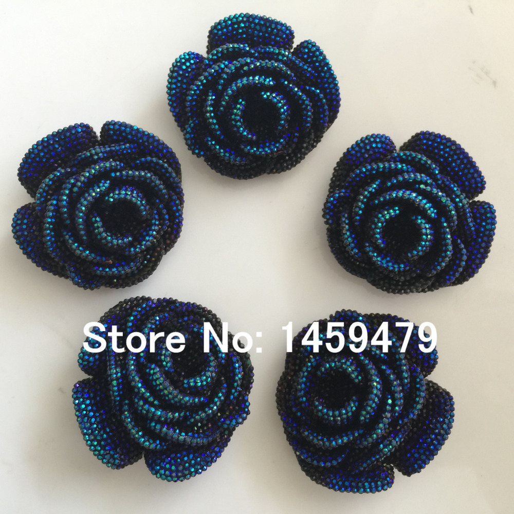 New 3D Flowers Large Resin Deep Blue AB Color Stick On Crystals Rhinestones  DIY Craft art Accessory Stones 4pcs 47mm-in DIY Craft Supplies from Home ... 8aa712a59522