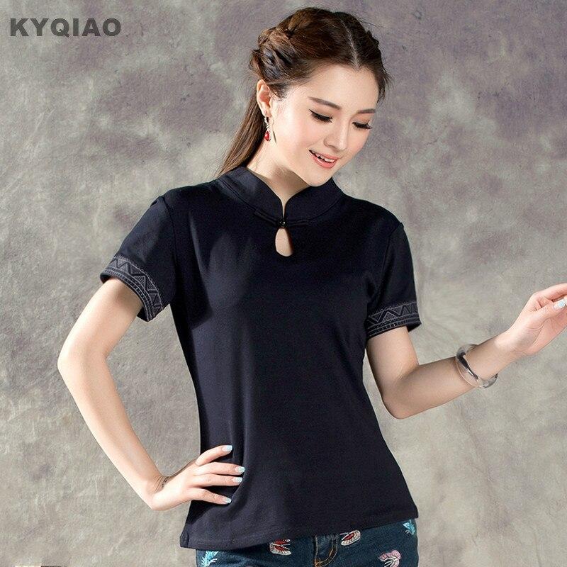 KYQIAO Camiseta feminina ropa mujer 2018 women m-2xl ethnic elegant mandarin collar short sleeve black red solid blouse shirt