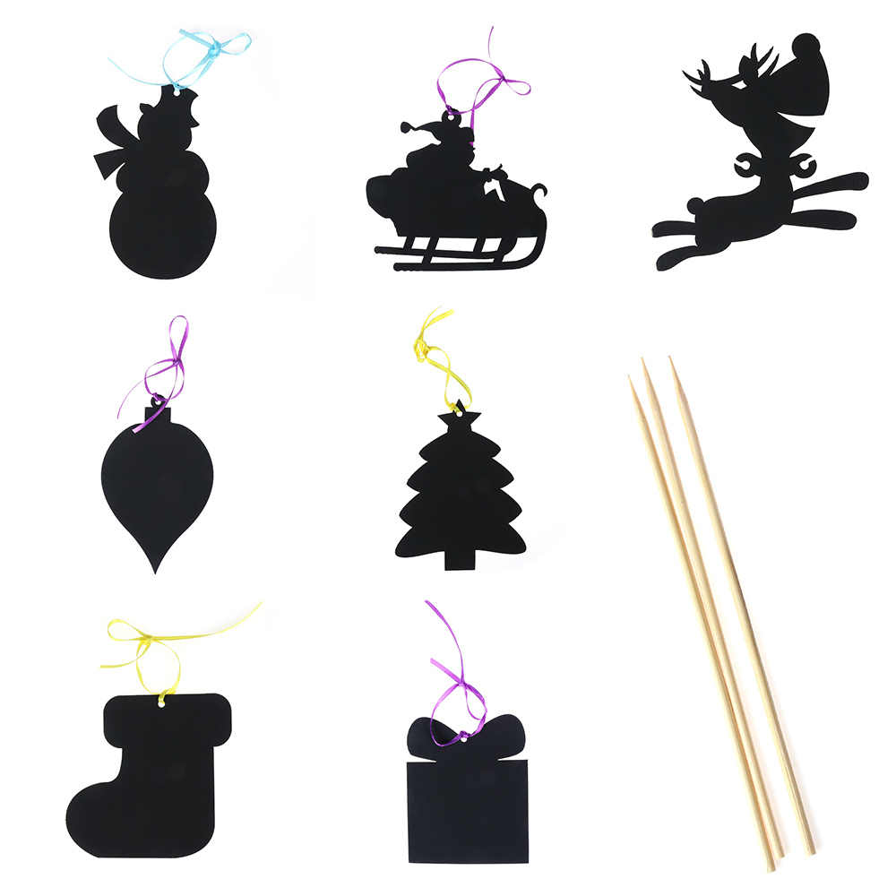 17 Pcs Set Warna Sihir Kartu Awal Pohon Natal Ornamen Awal Seni Mewarnai Kertas Kartu Scraping Gambar Mainan Untuk Anak
