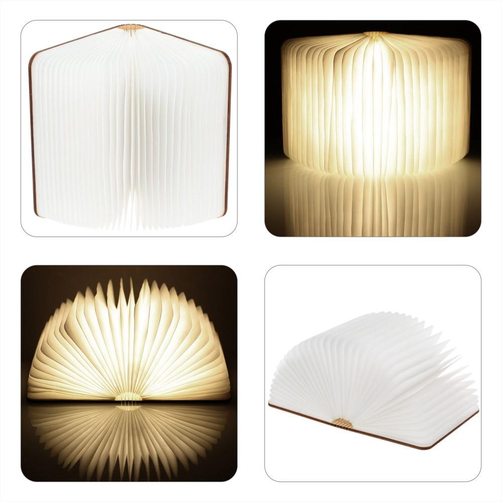 Legno Tornitura libri Nightlight USB ricaricabile A LED lampada pieghevole libro regalo di modo creativo lampada da tavolo