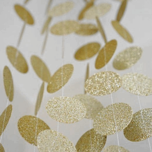 Sparkly Gold Circle Garland Glittery Circle Confetti Garland for Baby Shower Birthday Wedding Party Decorations in Party DIY Decorations from Home Garden