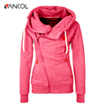 Fashion Women Winter Jacket Long Sleeve Slim Spring Zipper Hooded Sweatshirts Outwear Coat Wear Zip-up Tie Collar Hoodies