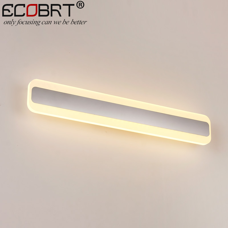 ECOBRT Modern LED Bathroom Mirror Lights Square Indoor Wall Mounted Acrylic Bar Lights 60cm 70cm long AC 100-240V AC ecobrt 7w led mirror wall lamps 40cm long modern furniture led picture lights rotated arm for home bathroom wall light