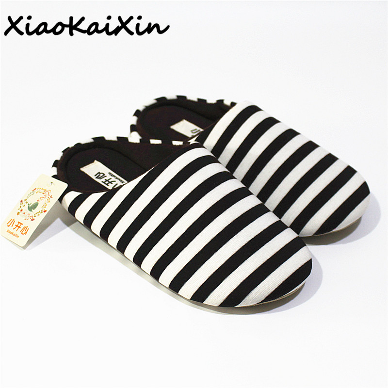 XiaoKaiXin Adult Winter Couples Home Slippers for Women and Men Striped Cotton Fabric Indoor Antislip House Slippers pantufa цена