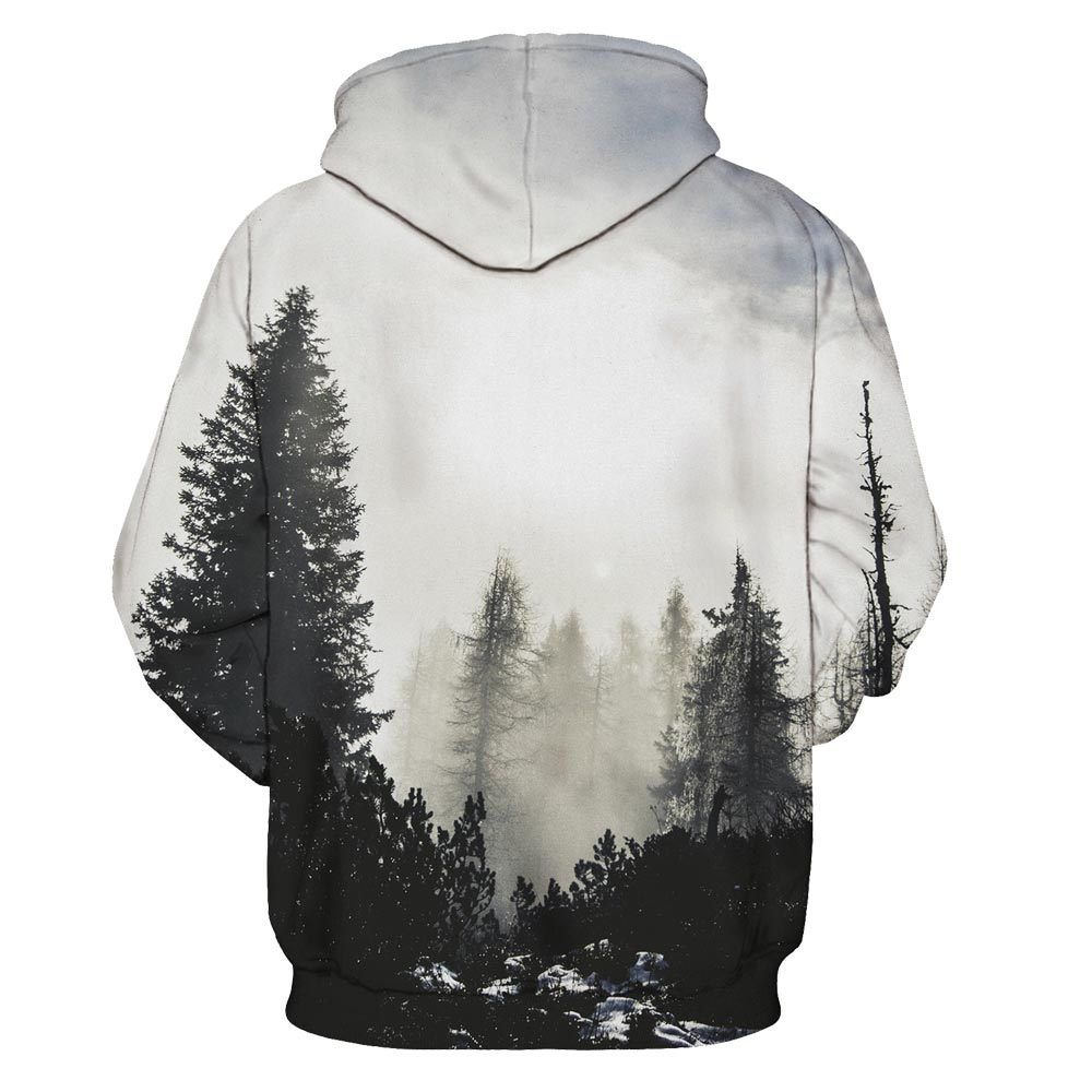 Mr.1991INC New Fashion Autumn Winter Men/women Thin Sweatshirts With Hat 3d Print Trees Hooded Hoodies Tops Pullovers 1