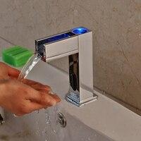 Новый стиль хром Hands Free светодиодный кран для раковины ванной комнаты кран с автоматическим датчиком Бесплатная доставка