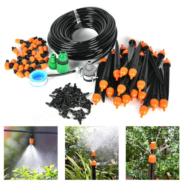 BORUiT 25m DIY Micro Drip Irrigation System Garden Watering Kits With Dripper Smart Controller Spray Sprinkler For Greenhouse